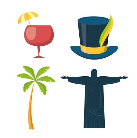 statue of christ redeemer hat palm cocktail brazil carnival festival vector illustration