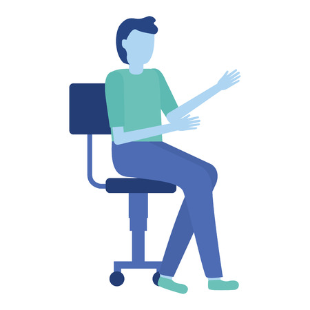 man sitting on office chair vector illustration Illustration