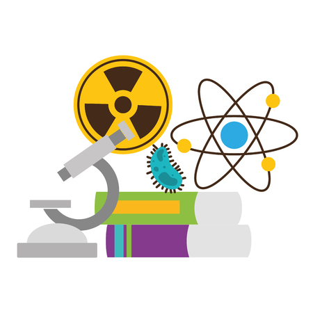 school science radiation atom books bacteria miscroscope vector illustration design Stok Fotoğraf - 122764850