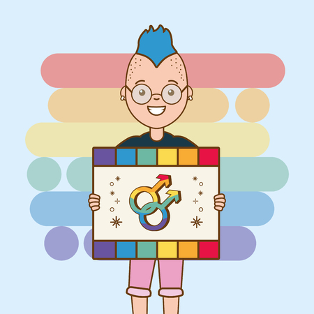girl with placard gender sign lgbt pride vector illustration