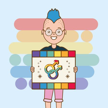 girl with placard gender sign pride vector illustration