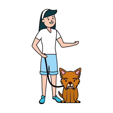 girl with his dog domestic vector illustration Фото со стока - 122764867