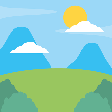 mountains landscape hill bushes nature vector illustration design Ilustracja