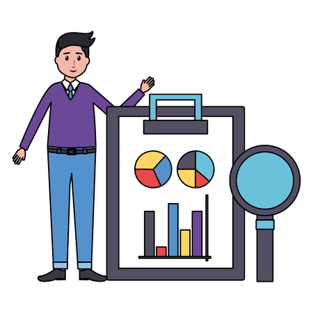 man clipboard magnifier office workplace vector illustration Ilustrace