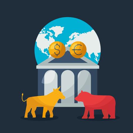 bull bear bank world trade financial stock market vector illustration Illustration