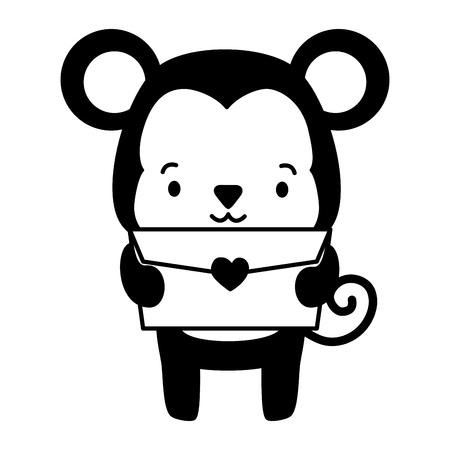 cute monkey cartoon mail love vector illustration Illustration