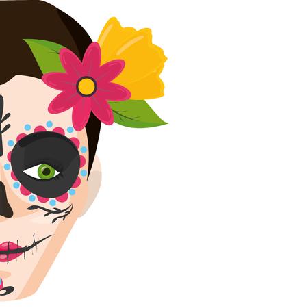 catrina skull flower character vector illustration design Standard-Bild - 121875876