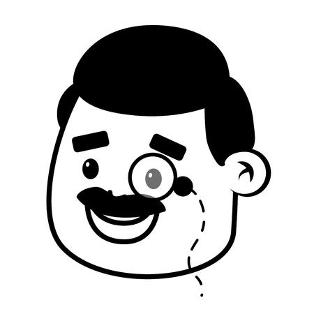 happy face man on white background vector illustration Illustration
