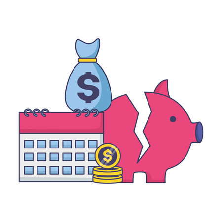 piggy bank calendar coins money bag tax payment  vector illustration