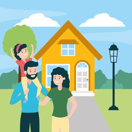 happy family front house vector illustration design Иллюстрация