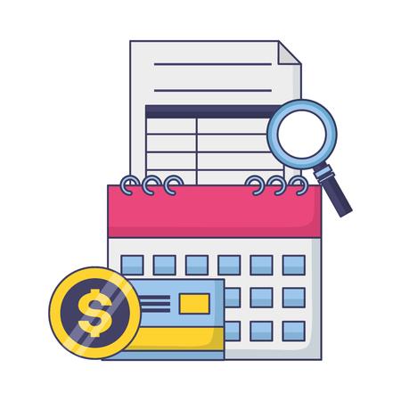 tax payment document calendar bank card magnifier vector illustration Vettoriali