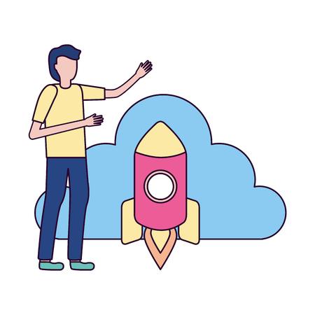 businessman cloud storage rocket data vector illustration vector illustration