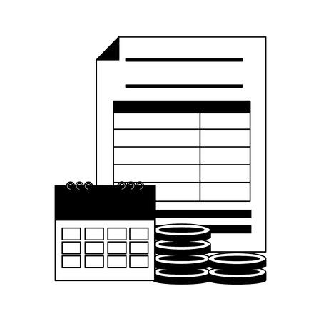 form calendar coins money tax payment vector illustration Standard-Bild - 121875890