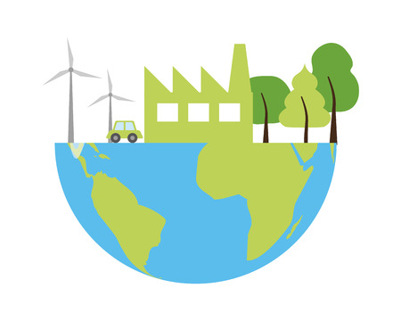 planet renewable energy earth day card vector illustration