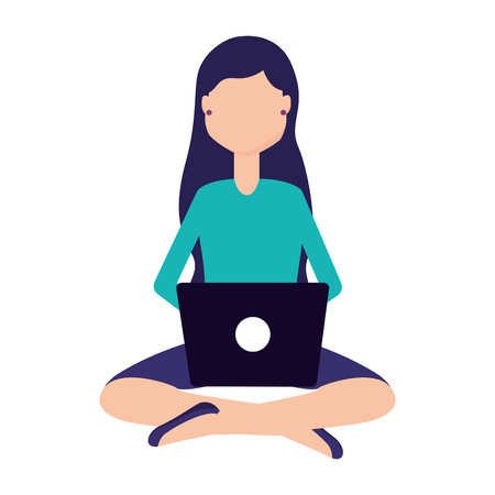 woman using laptop on white background vector illustration