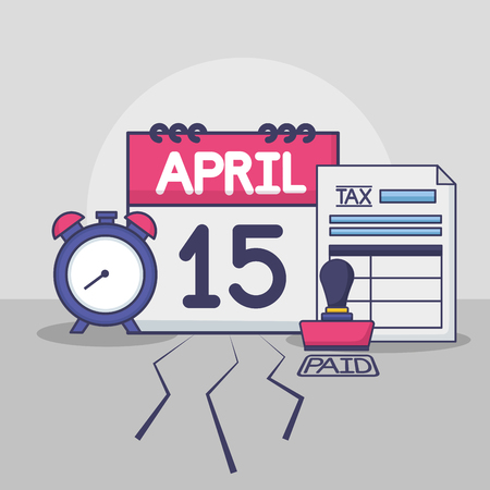 calendar clock form paid stamp tax payment vector illustration