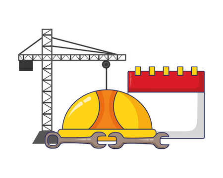 crane construction calendar wrench helmet labour day vector illustration 일러스트