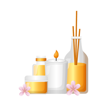 aromatherapy sticks candle gel tube spa treatment therapy vector illustration Illustration