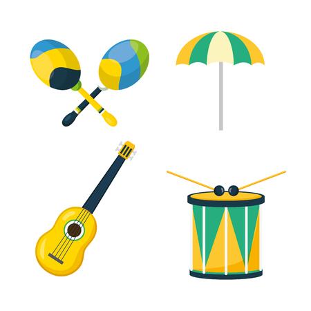 music drum guitar maracas umbrella brazil carnival festival vector illustration