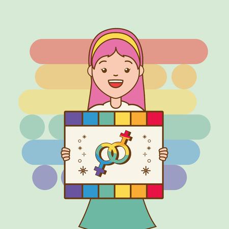 guy with rainbow heart lgbt pride vector illustration