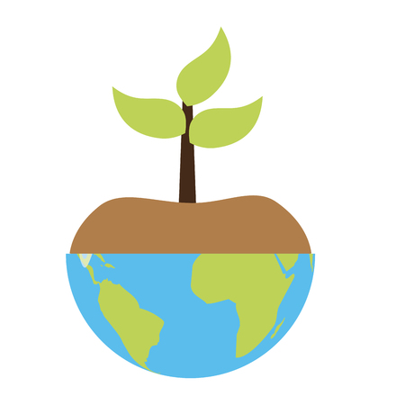 planet with plant earth day card vector illustration 일러스트