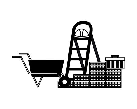 wheelbarrow stairs wall brick helmet box construction equipment vector illustration
