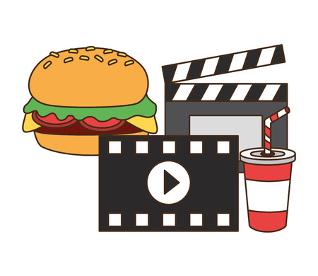 cinema burger soda clapboard fast food vector illustration design Illustration