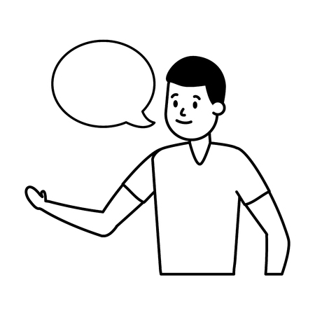 man adult character speech bubble vector illustration