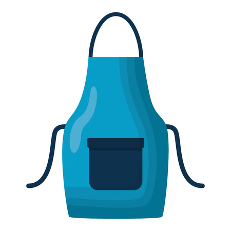 blue apron tool cleaning on white background vector illustration
