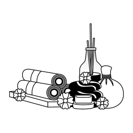 Traitement spa thérapie compresse à base de plantes serviettes en pierre aromathérapie illustration vectorielle