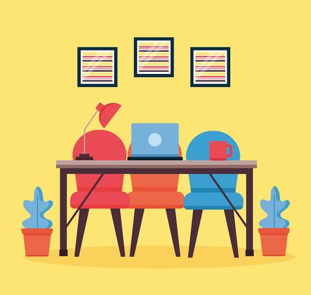 progettazione dell'illustrazione di vettore del fondo della mobilia del posto di lavoro dell'interno dell'ufficio