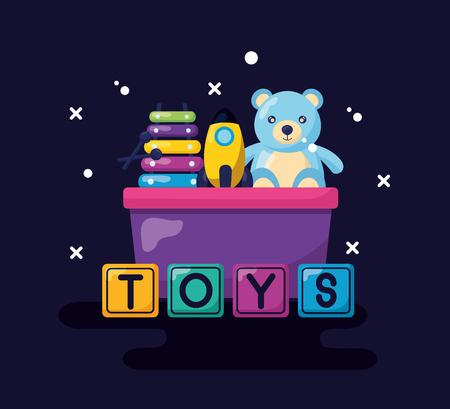 kids toys bucket with bear rocket  xylophone cubes vector illustration Foto de archivo - 121875983