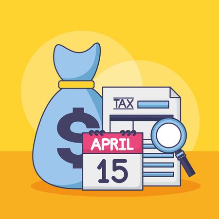 money bag calendar form magnifier tax payment vector illustration