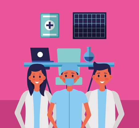 medical people staff professional in the office vector illustration