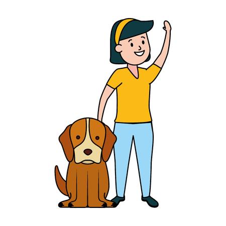 girl with his dog domestic vector illustration Фото со стока - 122765025
