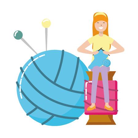 woman knitting sitting on a ball of yarn vector illustration