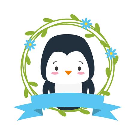 cute penguin sticker cartoon flowers vector illustration design Ilustração
