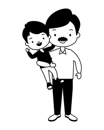 dad and son - fathers day vector illustration design Иллюстрация