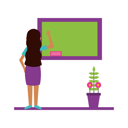 woman with blackboard and potted plant teachers day card vector illustration