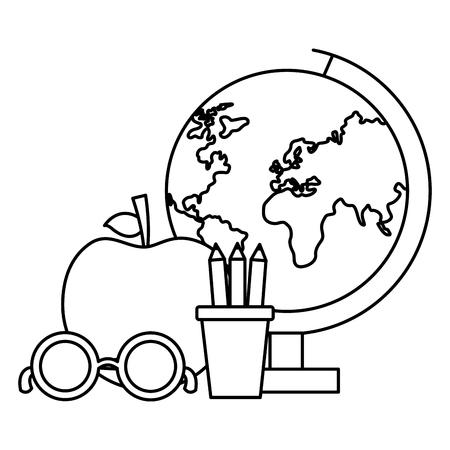 school globe apple pencils eyeglasses vector illustration design