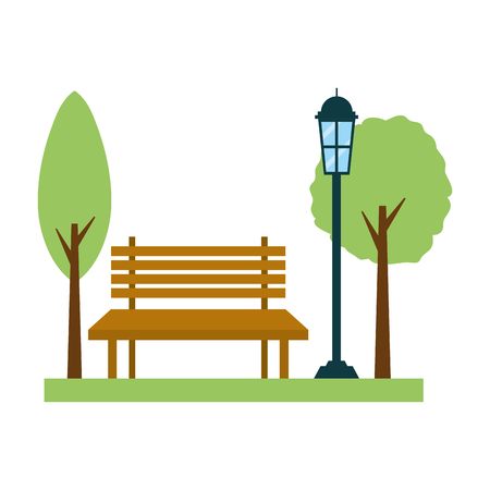 park bench lamp post light vector illustration design Illustration
