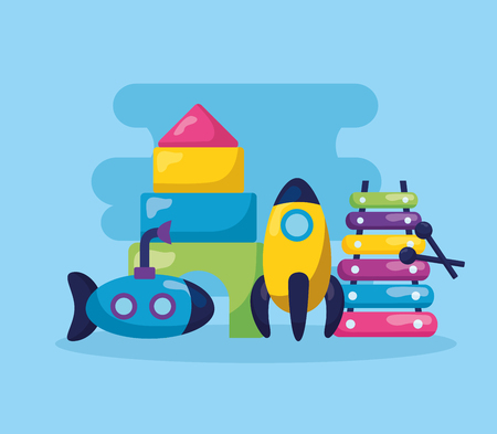 kids toys rocket xylophone submarine puzzles rocket vector illustration