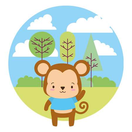 cute monkey cartoon landscape vector illustration design