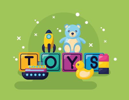 kids toys bear rocket duck boat vector illustration Illustration