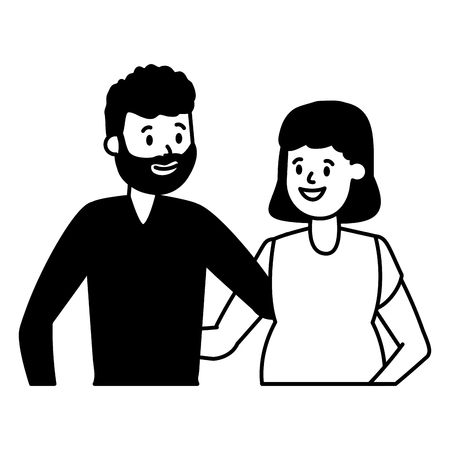 happy pregnant couple family vector illustration design  イラスト・ベクター素材