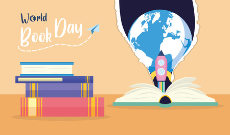 textbook rocket earth torn paper - world book day vector illustration
