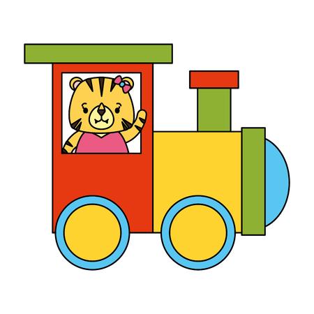 cute tiger train wagon toy design vector illustration Ilustrace