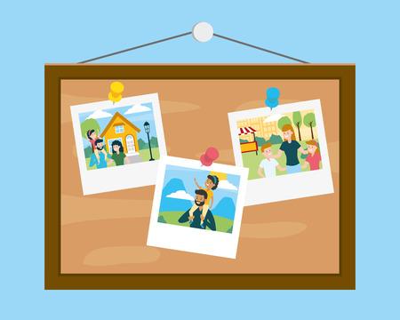 board with photos family day vector illustration design Foto de archivo - 121888867