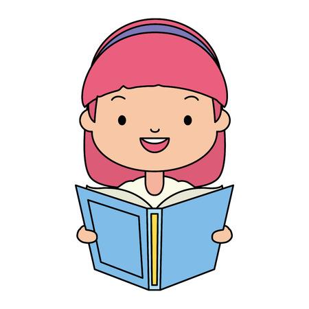 girl holding textbook - world book day vector illustration Stock Vector - 122765100