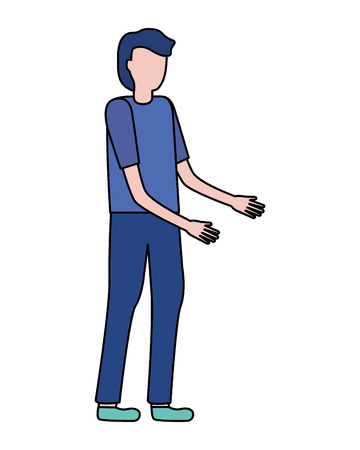 man gesturing hands on white background vector illustration Vektorové ilustrace